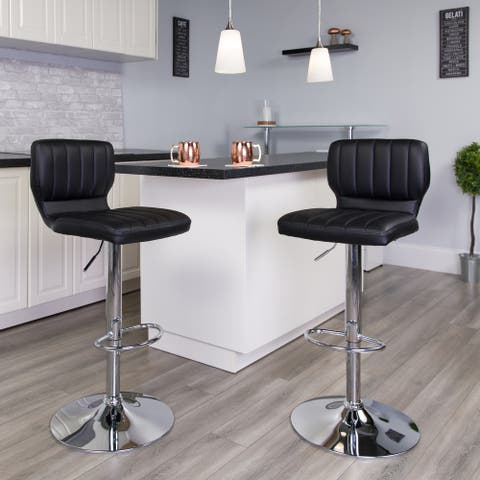 "Contemporary Vinyl Adjustable Height Barstool with Vertical Stitch Back - 16.5""W x 19""D x 34.5"" - 43""H"