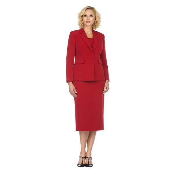 Giovanna Signature Women's Notch Collar 2pc Skirt Suit in Better Crepe. Opens flyout.