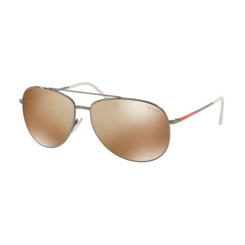 Prada Linea Rossa PS 55US 5AVHD0 57 Gunmetal Man Pilot Sunglasses
