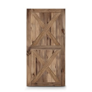 BELLEZE 42in x 84in Double X Sliding Barn Door Unfinished Solid Knotty Pine Wood Panelled Slab DIY Assemble, Brown