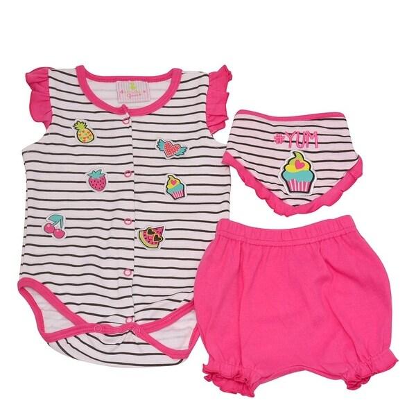 Baby Girls Fuchsia Fruit Stripe Print Bottoms Bloomers 3 Pc Bodysuit Set