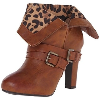 Dolce by Mojo Moxy Womens Dizzy Faux Leather Fold-Over Booties