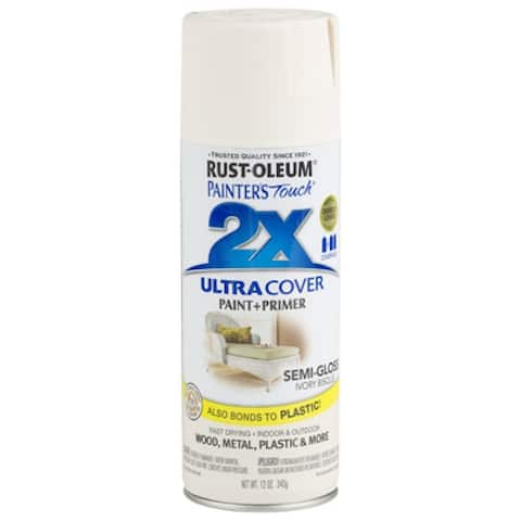 Rust-Oleum Painters Touch 2x Spray Paint, 12 Oz, Semi-Gloss Ivory Bisque