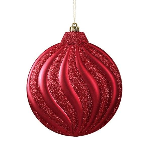 "6ct Matte Red Hot Glitter Swirl Shatterproof Christmas Disc Ornaments 6.25"""
