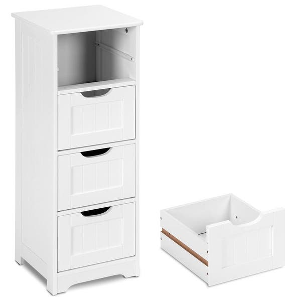 Gymax Bathroom Floor Cabinet Wooden