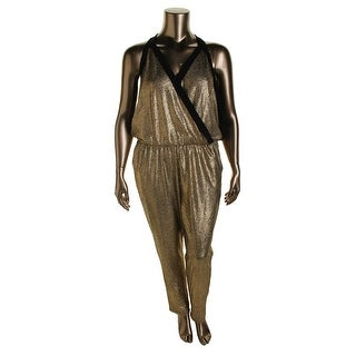 Kenneth Cole Womens Gwyneth Jumpsuit Metallic Sleeveless - xs