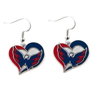 Washington Capitals Swirl Heart Earring NHL Dangle Logo Charm Gift