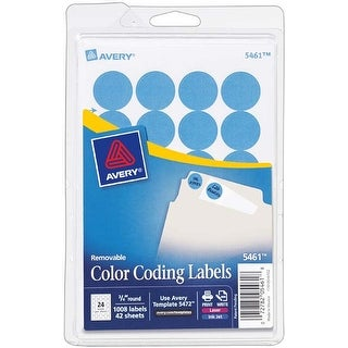 "Light Blue; .75"" Round - Avery Print/Write Self-Adhesive Removable Labels 1008/Pkg"
