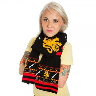 Harry Potter Gryffindor Crest Fair Isle Scarf - Black