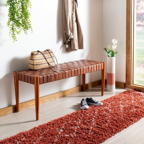 Safavieh Amalia Wood and Leather Bench