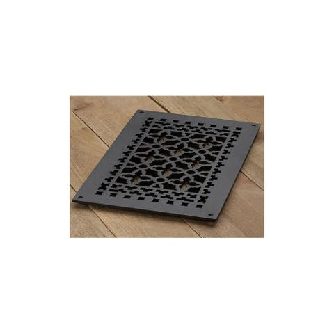"""Reggio Registers 1016-NH Scroll Series 14"""" x 8"""" Floor Grille without - Cast Iron"""