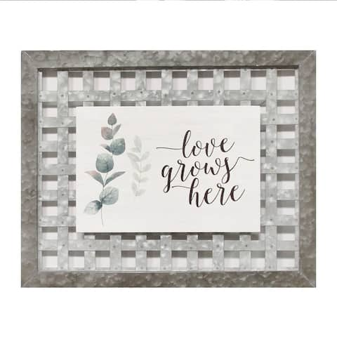 """Stratton Home Decor Handcrafted Farmhouse """"Love Grows Here"""" Wall Art"""