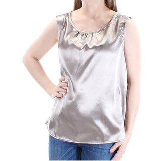 LE SUIT Womens Brown Sleeveless Jewel Neck Top Size: 8