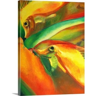 """""""Oil on canvas painting of fishes in red, green, and yellow"""" Canvas Wall Art"""