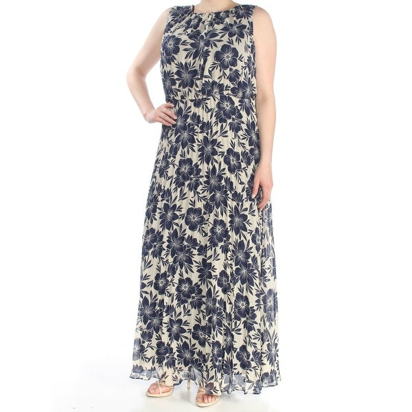 96d9b74d397 Shop JESSICA HOWARD Womens Navy Floral Chiffon Maxi Sleeveless Jewel Neck  Maxi Fit + Flare Dress Plus Size  16W - Free Shipping Today - Overstock -  27772002