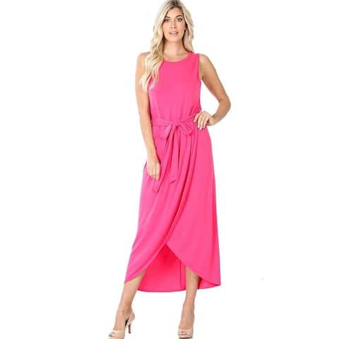 JED Women's Sleeveless Tulip Midi Dress with Belt