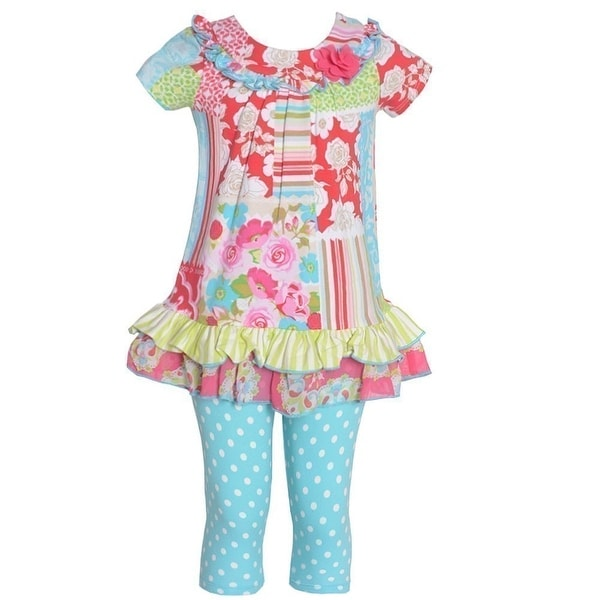 Baby Girls Aqua Pink Floral Mixed Pattern Ruffle Legging Set 6M