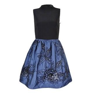 Adrianna Papell Women's Beaded Taffeta Jersey Dress - Black/Navy
