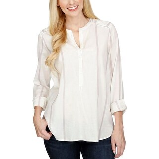 Lucky Brand Womens Henley Top Striped 3/4 Sleeves