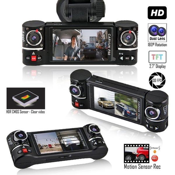 """Indigi? F600 Car DVR DashCam w/ Dual Rotating Cameras (Front+Rear) Driving Recorder with 2.7"""" LCD w/ IR Nightvision. Opens flyout."""