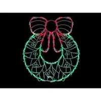 "18"" LED Lighted Wreath Double Sided Christmas Window Silhouette Decoration - green"