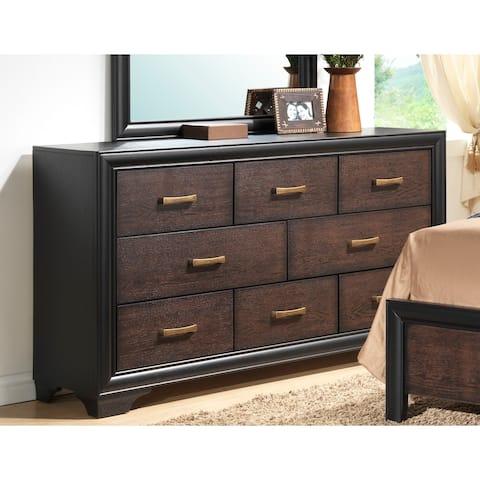 Copper Grove Koulo 7-drawer Honey Black and Brown Dresser w/ Antique Brass Hardware