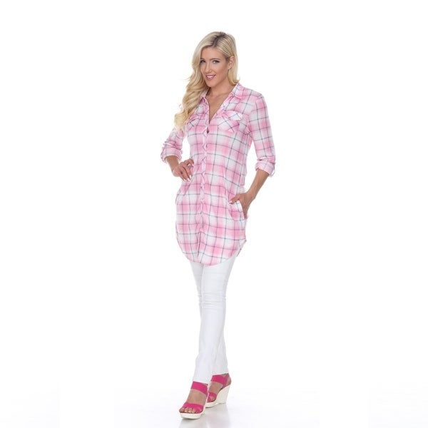 c74fe39f0f6 Shop Piper Plaid Tunic Top - Pink & White - On Sale - Free Shipping ...