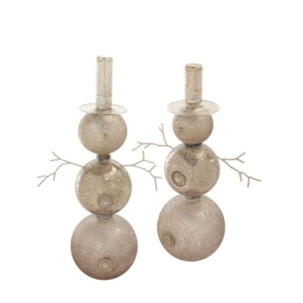 "Set of 4 Blown Glass Snowmen w/Top Hat, Gems & Beads Christmas Ornaments 14.5"" - 18"" - silver"