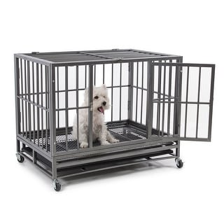 "Fur Family 36"" Heavy Duty Frame Dog Pet Crate Cage Kennel w/ 4 Wheels, Silver"
