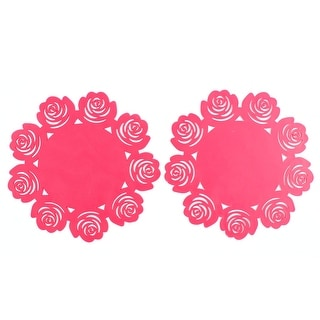 Silicone Flower Pattern Heat Resistant Table Pad Cup Mat Coaster Red 2 Pcs
