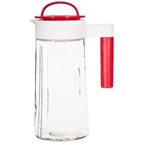 Palais Glassware Clear Glass Pitcher - 60 Oz.- with Colored Lid and Spout (Red)