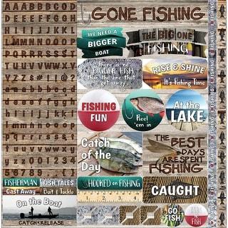 "Gone Fishing Sticker 12""X12""-"