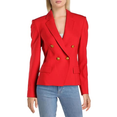 French Connection Womens Double-Breasted Suit Jacket Suit Separate Office Wear - Red