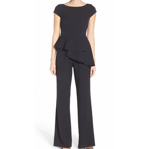 54fa73d1a3bc Shop Eliza J NEW Black Womens Size 6 Ruffled Peplum Wide-Leg Jumpsuit -  Free Shipping Today - Overstock - 20930038