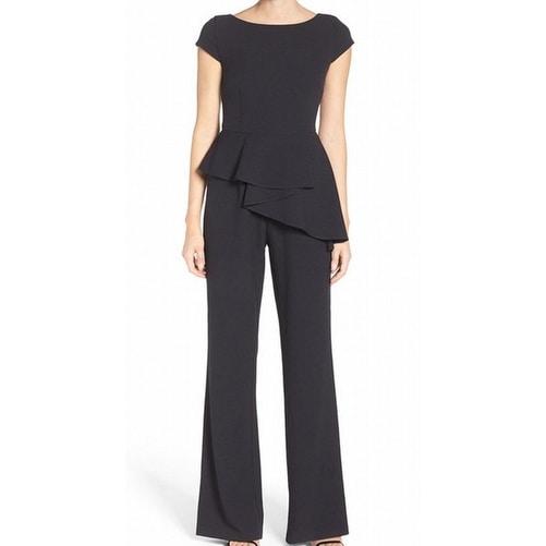 2f1235dd3a Shop Eliza J NEW Black Womens Size 6 Ruffled Peplum Wide-Leg Jumpsuit -  Free Shipping Today - Overstock - 20930038