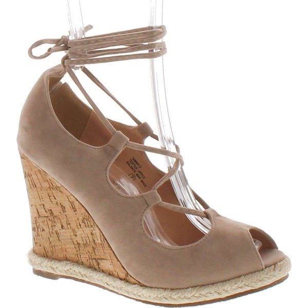 Chase & Chloe Tammy-2 Women's Peep Toe Espadrilles Lace Up Wedge Calf Sandals