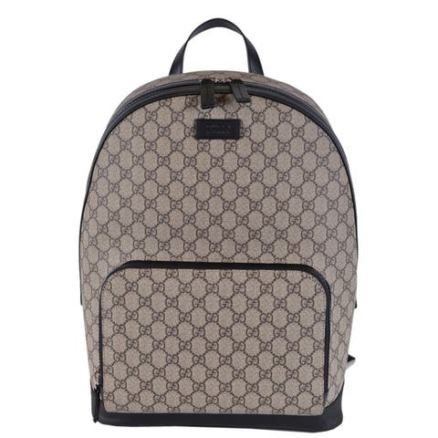 83e36ad34cedb Gucci Beige Black GG Guccissima Supreme Canvas Backpack Rucksack Bag -  Beige Brown
