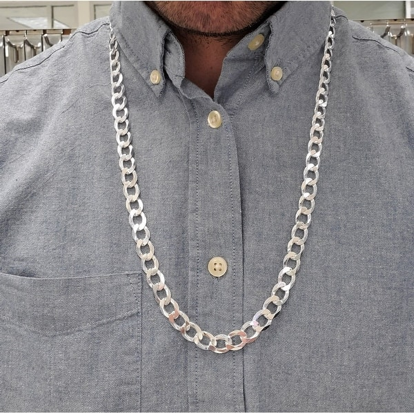 """Mens 925 Sterling Silver 10mm Cuban Curb Link Chain Necklace 20""""-36"""" Inches"""