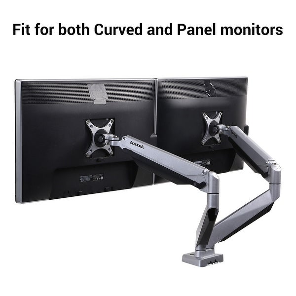 Loctek D7DR Dual LCD Arm Monitor Mount fits for both Curved and Panel 10-34 inch Monitors, Weighting 8.8-22 lbs