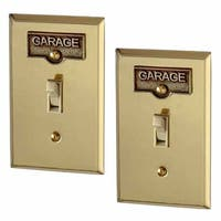 2 Switch Plate Tags GARAGE Name Signs Labels Antique Brass | Renovator's Supply