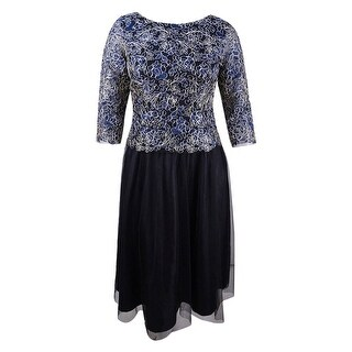 Alex Evenings Women's Plus Size Embroidered A-Line Dress - Navy/Gold