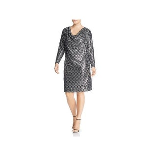 MICHAEL Michael Kors Womens Plus Cocktail Dress Metallic Cowl