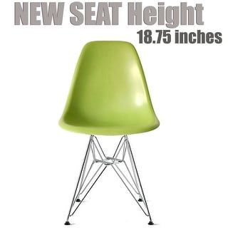 2xhome Green - Eames Style Molded Bedroom & Dining Room Side Ray Chair with Eiffel Metal Leg Base