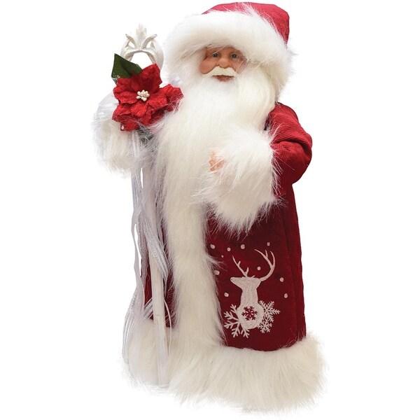 "12.5"" Retro Christmas Santa in Winter Robe with Staff Christmas Figure Decoration"