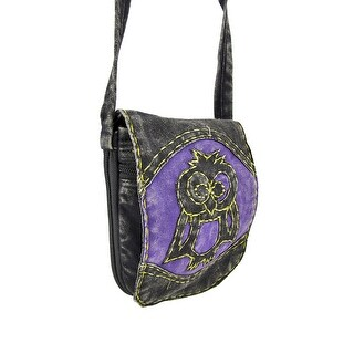 Expandable Padded Cotton Pouch with Owl Applique