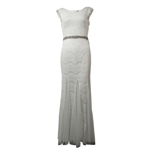Betsy & Adam Women's Beaded Lace Mesh-Godet Gown