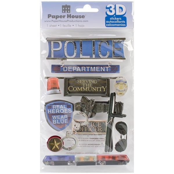 "Paper House 3D Stickers 4.5""x8.5""-Police"