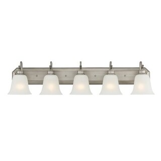 Designers Fountain 96905 Montego 5 Light Bathroom Fixture with Frosted Glass Shades