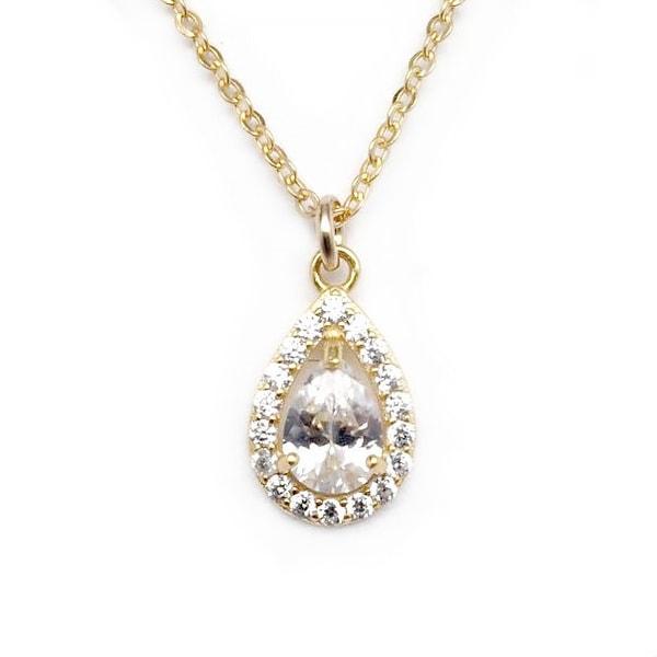 """Julieta Jewelry CZ Teardrop Gold Charm 16"""" Necklace"""