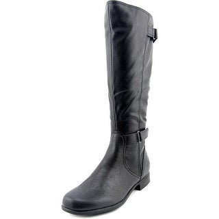 Hush Puppies Motives16Bt Women Round Toe Leather Black Knee High Boot